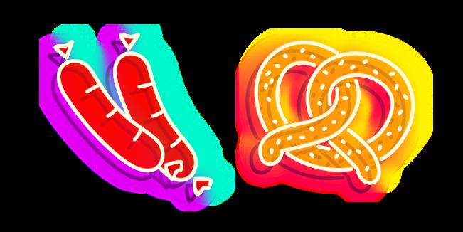 Neon Sausages and Pretzel