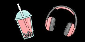 VSCO Girl Headphones and Bubble Tea Cursor