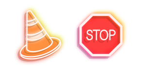 Neon Road Sign Stop and Traffic Cone Cursor