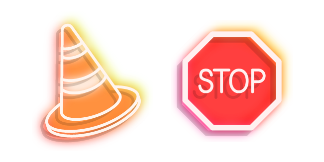 Neon Road Sign Stop and Traffic Cone