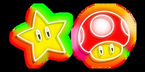 Курсор Неоновый Супер Марио Супер Гриб и Супер Звезда