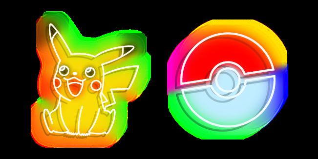 Neon Pokemon Pikachu and Pokeball