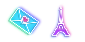 Neon Eiffel Tower and Love Letter Cursor