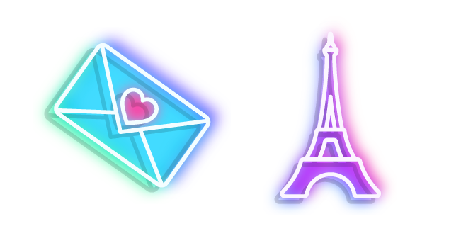 Neon Eiffel Tower and Love Letter