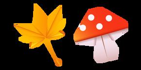 Origami Leaf and Mushroom