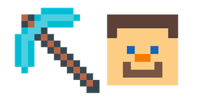 Minecraft Diamond Pickaxe & Steve Curseur