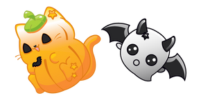 Halloween Cat and Ghost Bat  Cursor