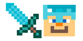 Minecraft Diamond Sword and Diamond Armor Steve Cursor
