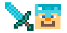 Minecraft Diamond Sword and Diamond Armor Steve Curseur