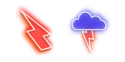 Red Lightning and Blue Storm Neon Cursor