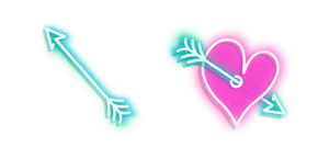 Blue Arrow and Pink Heart with Arrow Neon Curseur