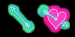 Blue Arrow and Pink Heart with Arrow Neon Cursor