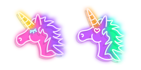 Pink and Purple Unicorn Neon Curseur