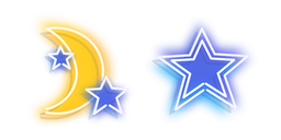 Neon Yellow Moon and Blue Star Cursor