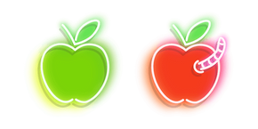 Курсор Neon Green and Red Apple with Worm