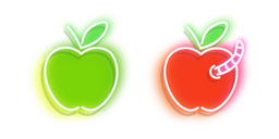 Neon Green and Red Apple with Worm Cursor