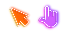 Orange Arrow and Purple Hand Neon Cursor