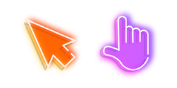 Orange Arrow and Purple Hand Neon