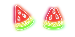 Red with Green Watermelon Neon Cursor