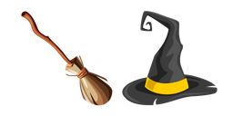 Witch Broom and Hat Cursor