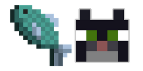 Minecraft Fish and Tuxedo Cat Cursor